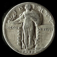 1928-D STANDING LIBERTY 90 SILVER QUARTER SHIPS FREE. BUY 5 FOR $2 OFF