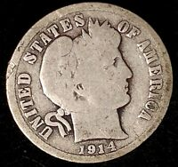 1914-D 10C BARBER DIME N1016OTL 90 SILVER ONLY 50 CENTS FOR SHIPPING