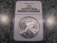 2010 EAGLE S $1 MINT STATE 69 1OZ AMERICAN SILVER EAGLE COIN NGC GRADED BROWN LABEL