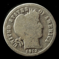 1912-D BARBER 90 SILVER DIME SHIPS FREE. BUY 5 FOR $2 OFF