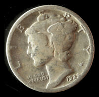 1929-P MERCURY 90 SILVER DIME SHIPS FREE. BUY 5 FOR $2 OFF