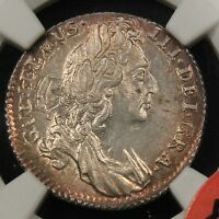 1696 ENGLAND 6D SIXPENCE MS65 NGC. ESC 1533 WILLIAM III. SOLO FINEST TOP POP 1/0