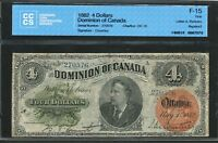 1882 $4 DOMINION OF CANADA FOUR DOLLARS. CCCS F 15. DC 10.  BANKNOTE.