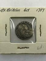 GREAT BRITAIN GEORGIVS III 1787 SIXPENCE SILVER COIN.  UNCER