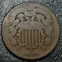 1864 2 CENT PIECE  2C EARLY TYPE COPPER COIN