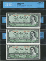 3 SEQUENTIAL SERIAL  1954 $1 CANADA DEVIL'S FACE COYNE TOWERS CCCS UNC63 BC 29A