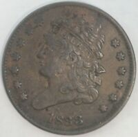 1833 CLASSIC HEAD HALF CENT UNITED STATES COIN 1/2C GREAT EYE APPEAL