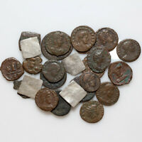 MIX LOT OF 25 WORLD WIDE ANCIENT BRONZE AND SILVER COINS