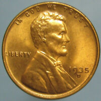 1935 D LINCOLN CENT   GEM RED & BROWN BEAUTY