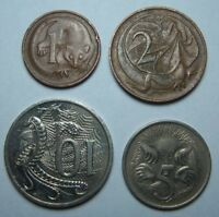AUSTRALIA LOT OF 4 COINS 1 CENT 2 CENTS 5 CENTS 10 CENTS REF