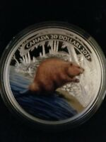 2015 'BEAVER AT WORK' COLOR PROOF $20 FINE SILVER COIN 1OZ CANADIAN W/ CARD