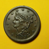 1853 BRAIDED HAIR HALF CENT  UNC