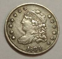 1834 EXTRA FINE  CAPPED BUST SILVER US HALF DIME.