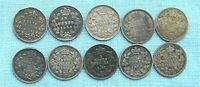 LOT OF 10 CANADIAN 5 CENT SILVER