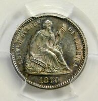 PCGS MINT STATE 64 1870 SEATED HALF DIME