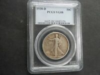 1938 D PCGS VG8 WALKING LIBERTY HALF DOLLAR 99 CENTS NO RESE