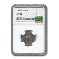 1867 SHIELD NICKEL W/RAYS MINT STATE 64 NGC CAC - SKU189653