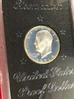 1971-S $1 EISENHOWER IKE SILVER DOLLAR. BROWN IKE. PROOF US MINT COIN
