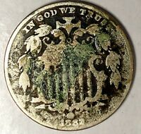 1882-P 5C SHIELD NICKEL 18UTT1008 ONLY 50 CENTS FOR SHIPPING