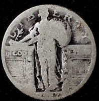 1927-P 25C STANDING LIBERTY QUARTER, SHO 90 SILVER 50 CENTS FOR SHIPPING
