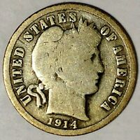 1914-D 10C BARBER DIME 18OCT1013-2 90 SILVER ONLY 50 CENTS FOR SHIPPING