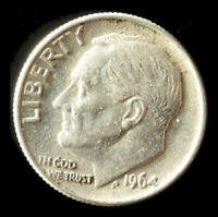 1964-P ROOSEVELT 90 SILVER DIME SHIPS FREE. BUY 5 FOR $2 OFF