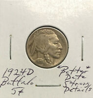 1924 D BUFFALO NICKEL  BETTER DATE  ROTATED DIE  STRONGLY DETAILED COIN