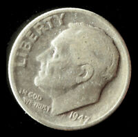 1947-D ROOSEVELT 90 SILVER DIME SHIPS FREE. BUY 5 FOR $2 OFF