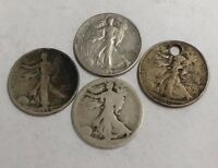 4 TOTAL SILVER WALKING LIBERTY HALF DOLLAR COINS 90 SILVER 1936S,1942D,1944D,ND
