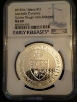 2018 MINT STATE 69 ST. HELENA 1 OZ SILVER  GUINEA NGC EARLY RELEASE