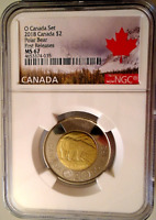 2018 O CANADA $2 POLAR BEAR TOONIE NGC MS67 FIRST RELEASES P
