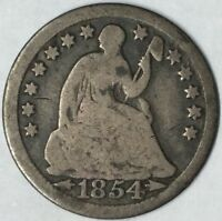 1854 H10C SEATED LIBERTY HALF DIME G UNCERTIFIED