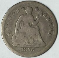 1856 H10C SEATED LIBERTY HALF DIME VG UNCERTIFIED
