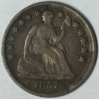 1857 H10C SEATED LIBERTY HALF DIME VF UNCERTIFIED