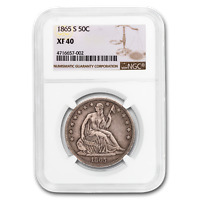 1865-S LIBERTY SEATED HALF DOLLAR EXTRA FINE -40 NGC - SKU188553