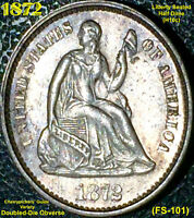 1872 LIBERTY SEATED HALF DIME - DDO FS-101 @@CHERRYPICKERS' GUIDE VARIETY@@