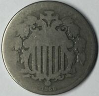 1866 5C SHIELD NICKEL RAYS AG UNCERTIFIED