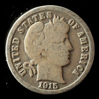 1915-P BARBER 90 SILVER DIME SHIPS FREE. BUY 5 FOR $2 OFF