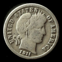 1911-D BARBER 90 SILVER DIME SHIPS FREE. BUY 5 FOR $2 OFF