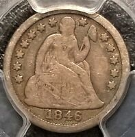 1846 SEATED LIBERTY DIME  PCGS VG10 GOLD SHIELD