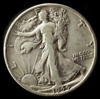 1944-S WALKING LIBERTY 90 SILVER HALF SHIPS FREE. BUY 5 FOR $2 OFF