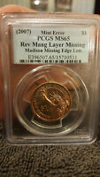 2007,1$,J.MADISON.MISSING EDGE LETTERS ERROR,REV MANG.LAYER MISSING PCGS.MS.65