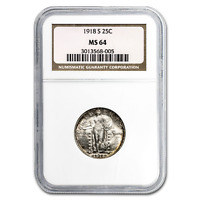1918-S STANDING LIBERTY QUARTER MINT STATE 64 NGC