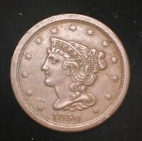 1850 HALF CENT BRAIDED HAIR/ONLY 39,812 MADE   SEE PICTURES