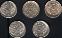 INDIA OLD RS.5/  CU/NI 5 PC OFF CENTRE ERROR 2003 TOP CONDIT