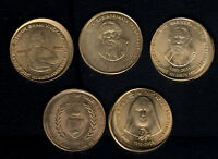 INDIA RS.5/  BRASS 5 PC COMMEMORATIVE OFF CENTRE ERROR TOP C