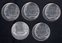 INDIA RE.1/  STEEL COIN OFF CENTRE ERROR 5 PC  UNC