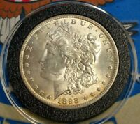 1898 O US MORGAN SILVER ONE DOLLAR COIN WITH DIE CRACK/CLASHING/DOUBLING VAM