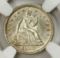 NGC MINT STATE 64 1850 SEATED HALF DIME