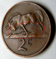 SOUTH AFRICA 2 CENTS 1975     MINT ERRORS